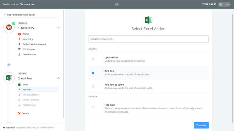 Select Excel Action